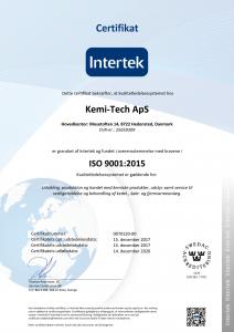 Kemi-tech ApS ISO9001:2015 certifikat