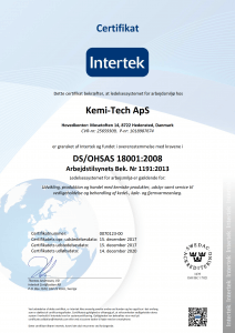 Kemi-tech ApS DS/OHSAS 18001:2008 certifikat