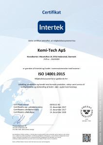 Kemi-tech ApS ISO14001:2015 certifikat